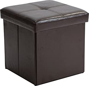Simplify Kennedy Home Collection 30-Inch Faux Leather Folding Storage Ottoman, Choco