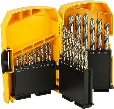 Dewalt DT5929-QZ DT5929-QZ-Juego de 29 Piezas para Metal HSS-G DIN 338 en Cassette metálica Ø 1-13mm, 0 W, 0 V, Negro Y Amarillo: Amazon.es: Bricolaje y herramientas