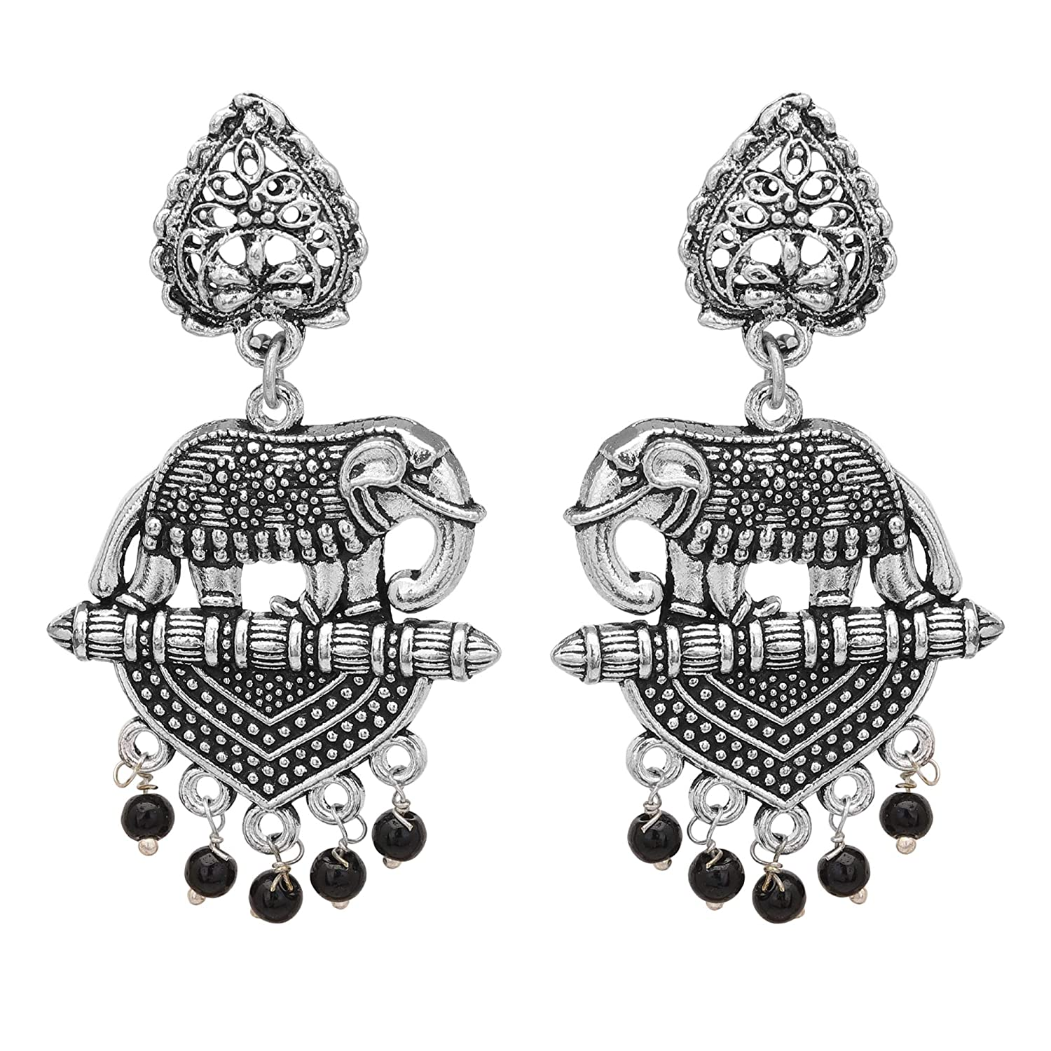 Oxidised Elephant Shaped Silver Earrings for Women /& Girls By Gahnemall