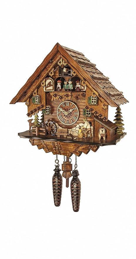 ordinary Quartz Cuckoo Clock Part - 11: Engstler Quartz Cuckoo Clock Black forest house with music and dancers EN  4681 QMT