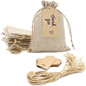 SumDirect 20pcs 5x7inch Brown Burlap Gift Bags, Favor Jewelry Pouches with Drawstring for Christmas, Wedding Party and DIY Craft Packing with Tags