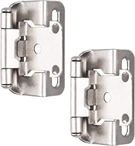 Self Closing Cabinet Hinges Satin Nickel, 50 Pack - 1/2 Inch Overlay 3/4 Inch Frame Semi Wrap Kitchen Cabinet Door Hinge Hardwar