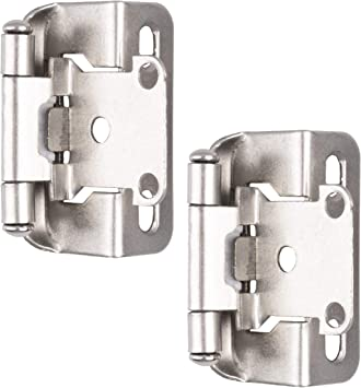 Self Closing Cabinet Hinges Satin Nickel 50 Pack 1 2 Inch Overlay 3 4 Inch Frame Semi Wrap Kitchen Cabinet Door Hinge Hardwar Amazon Com