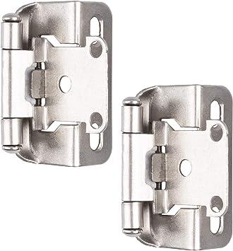 Self Closing Cabinet Hinges Satin Nickel 50 Pack 1 2 Inch Overlay 3 4 Inch Frame Semi Wrap Kitchen Cabinet Door Hinge Hardwar Amazon Com