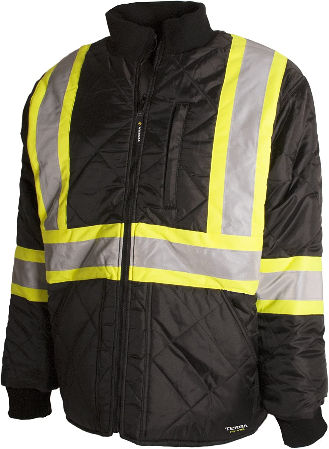 Terra 116505BKM High-Visibility Quilted And Lined Reflective Safety Freezer Jacket, Black, Medium