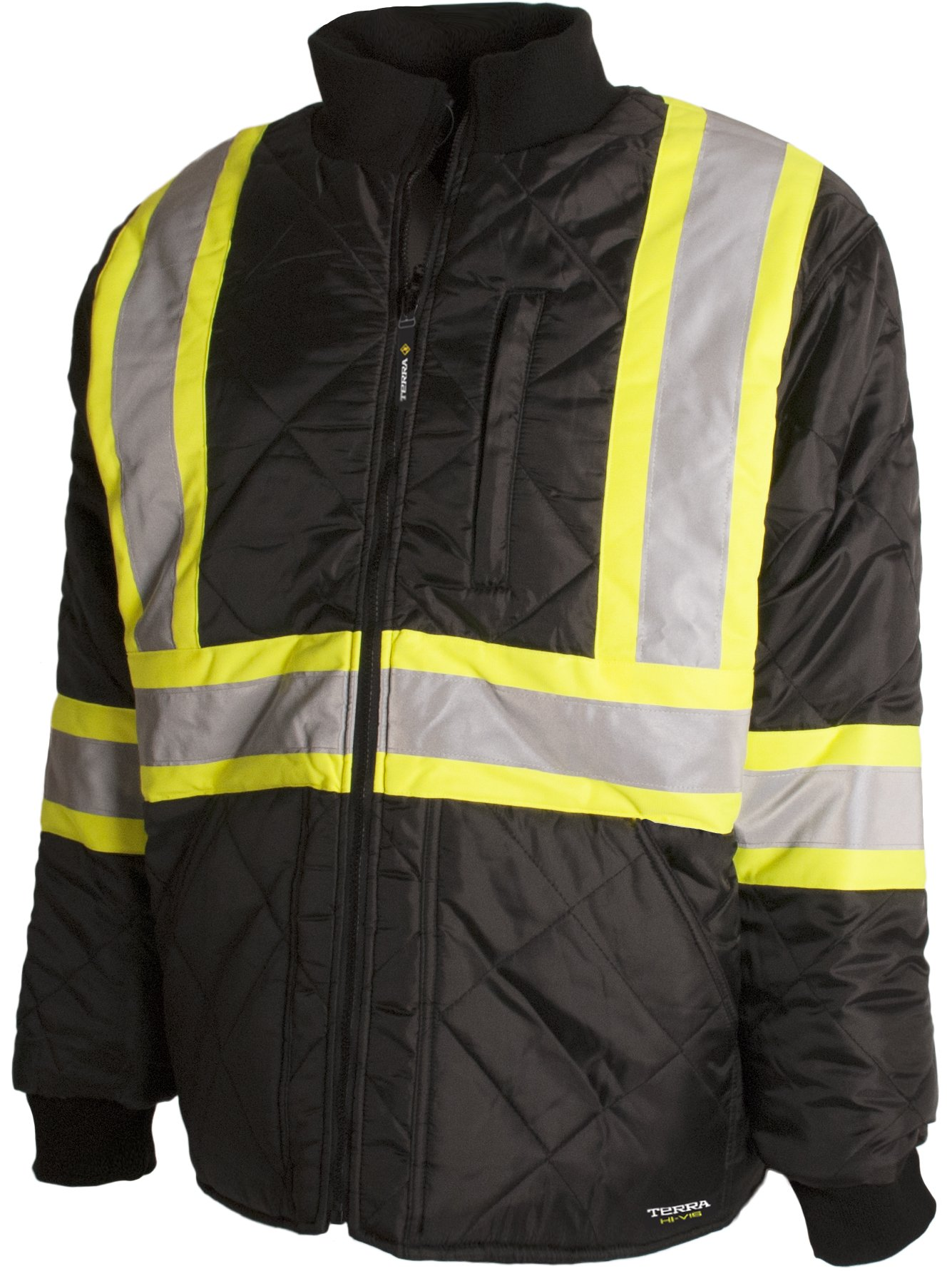 Terra 116505BKM High-Visibility Quilted And Lined Reflective Safety Freezer Jacket, Black, Medium by Terra (Image #1)