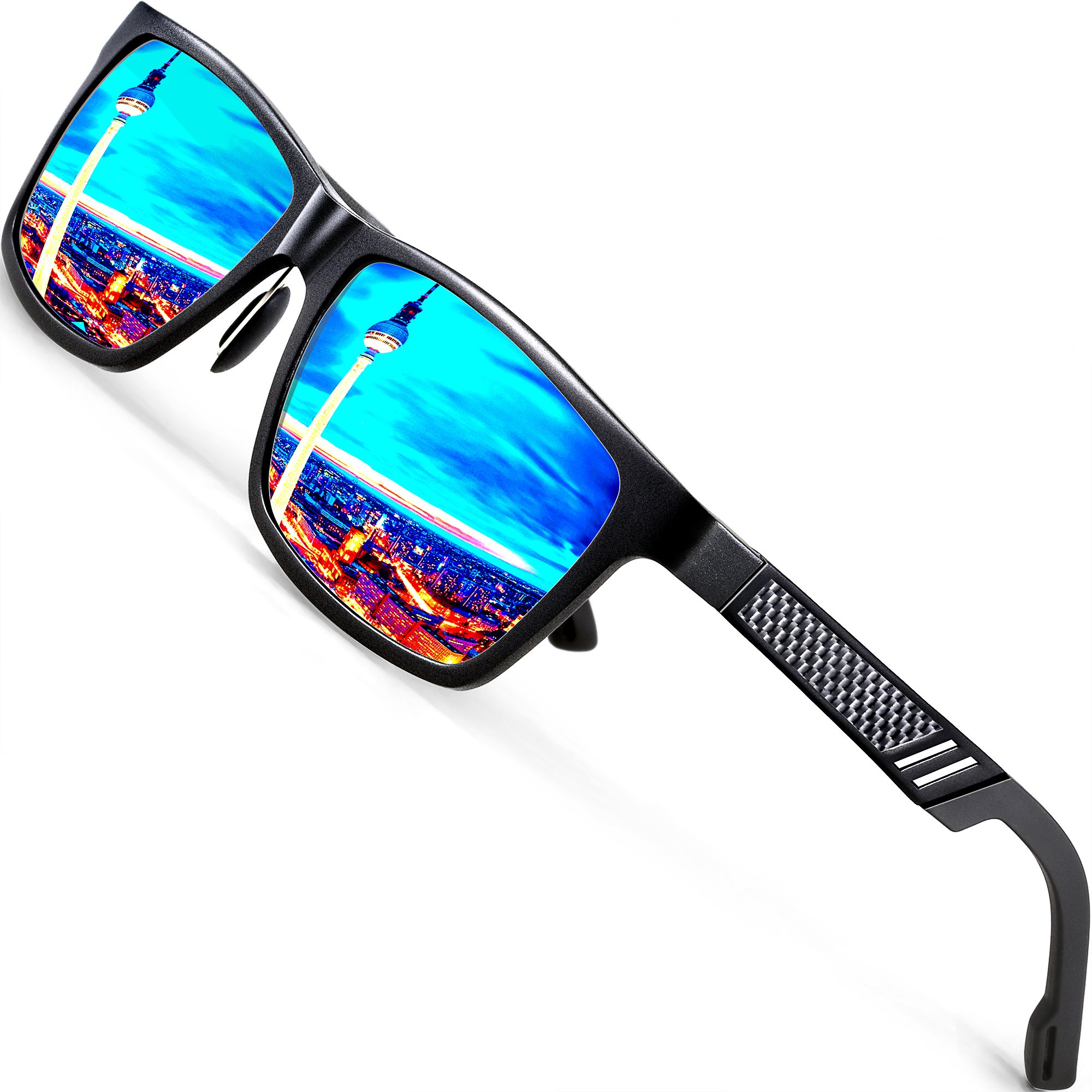 ATTCL Men's Hot Retro Driving Polarized Wayfarer Sunglasses Al-Mg Metal Frame Ultra Light (Black/Blue, 6560)
