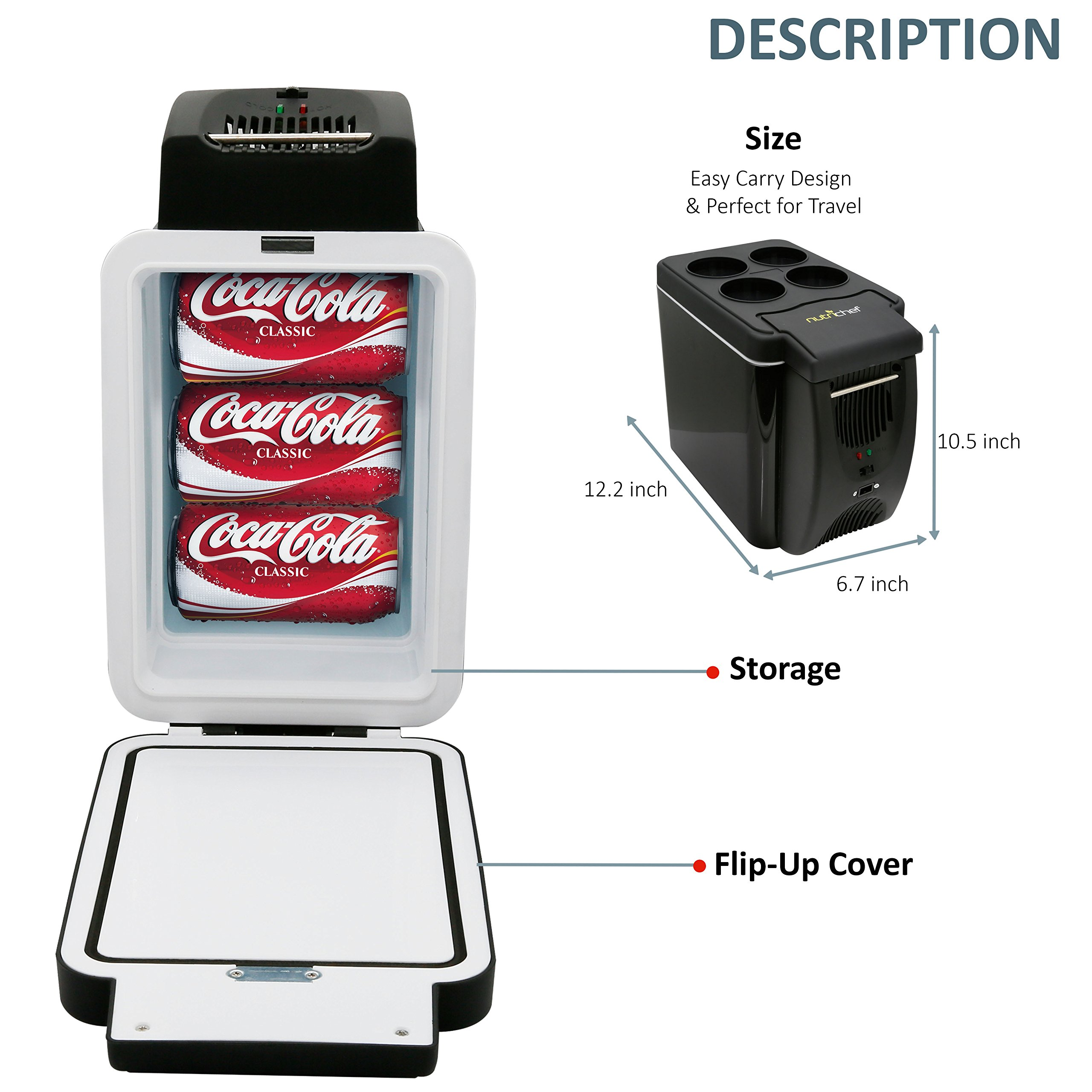NutriChef Portable Electric Cooler Fridge / Food Warmer, 7L  Capacity | Personal Thermoelectric Dual Cooling Warming Digital Plug In Refrigerator for Car, Travel, Beach, Office by NutriChef (Image #5)