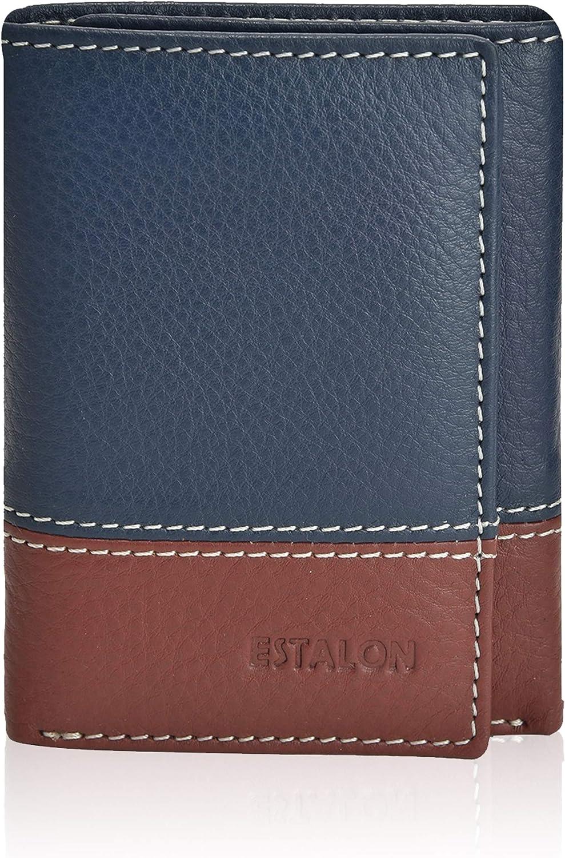 Slim RFID Wallets for Men - Genuine Leather Front Pocket Trifold Wallet
