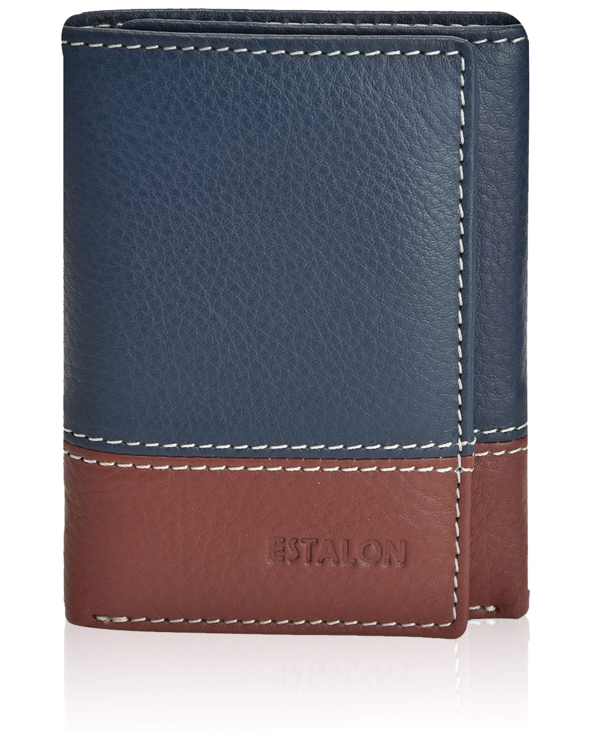 Credit Card Wallet Dual Color - Navy Brown Nappa Genuine Leather Durable Trifold Men's Wallet, RFID Blocking Prevents Identity Theft, Elegant Gift Box Packing by ESTALON