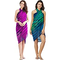 SOURBH Beach Wear Sarongs for Women Combo Value Pack Body Wrap Swim Coverup -Set of 2 (S1APink_S204-Pink & Blue, Green-Free Size)