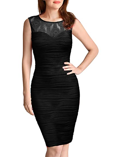 56e3c0239fc1 FORTRIC Women Sleeveless Top Lace V Back Sexy Bodycon Cocktail Party Dress  at Amazon Women's Clothing store: