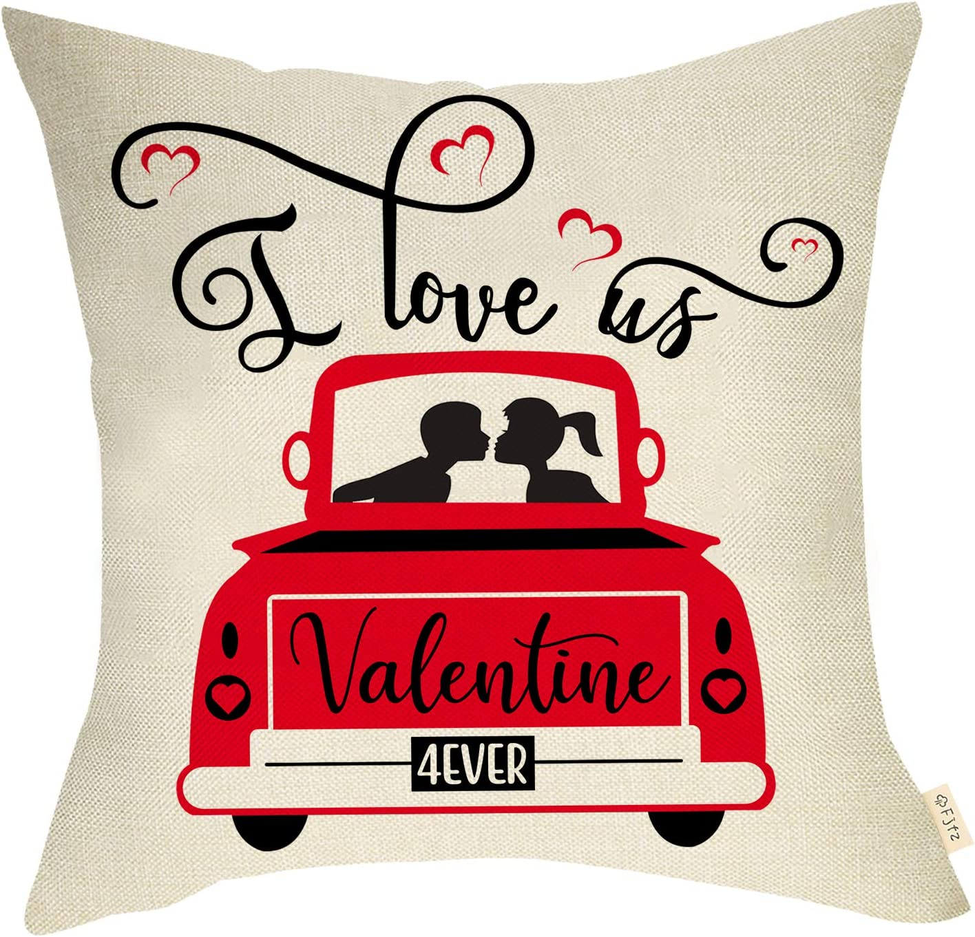 Fjfz Valentines Day Farmhouse Decorative Throw Pillow Cover Vintage Red Truck Sign I Love Us Forever Lovers Holiday Decoration Spring Home Décor Cotton Linen Cushion Case for Sofa Couch 18