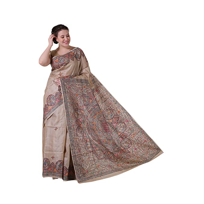 faf7991e33 iMithila pure tussar silk beige color saree: Amazon.in: Clothing &  Accessories