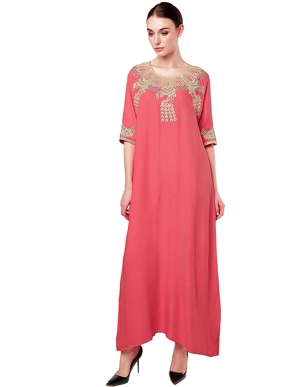 Baya Muslim Dress Dubai Kaftan for Women Half Sleeve Arabic Long Dress Abaya Islamic Clothing Girls Caftan Jalabiya