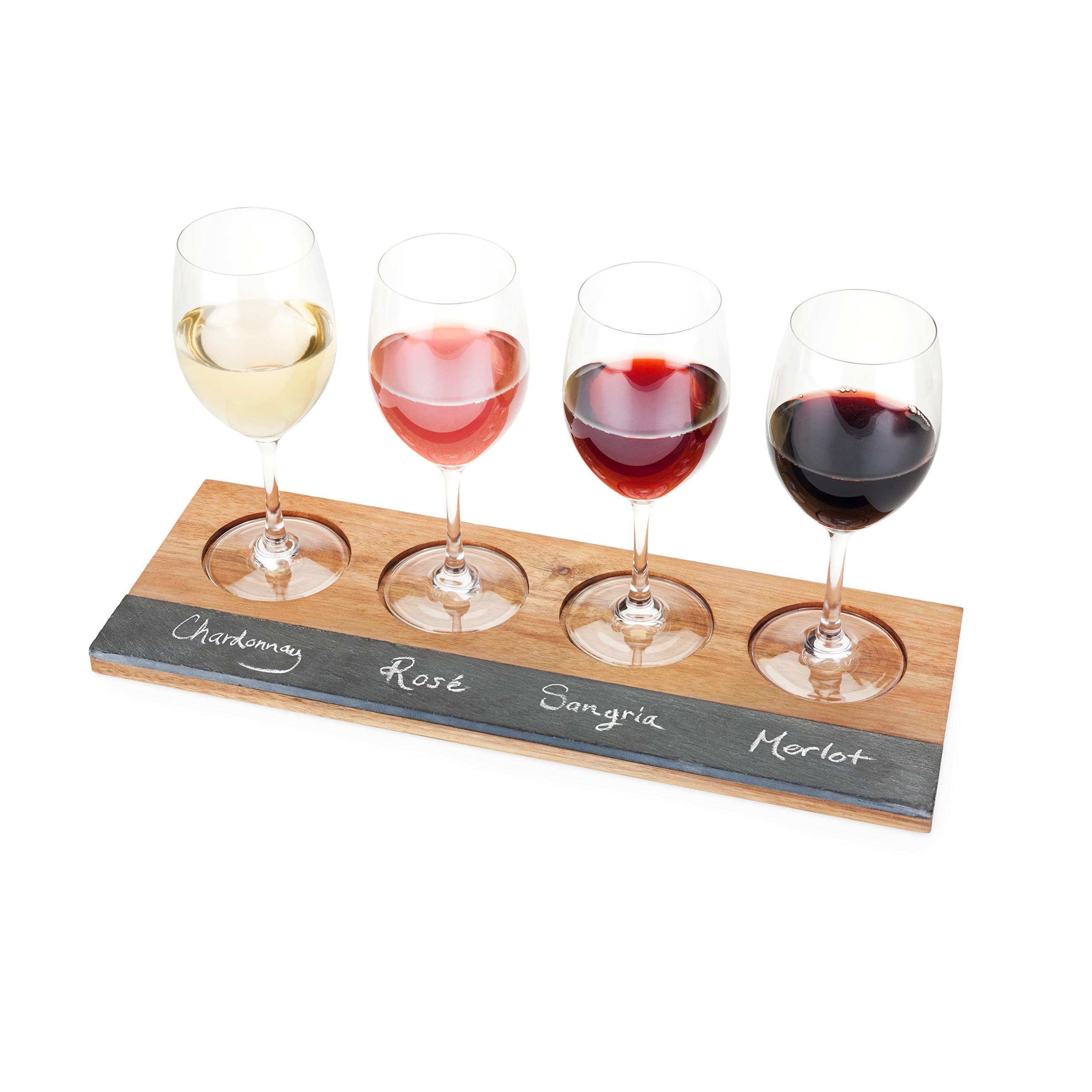 Twine Rustic Farmhouse Acacia Wine Wooden Flight Board by Twine