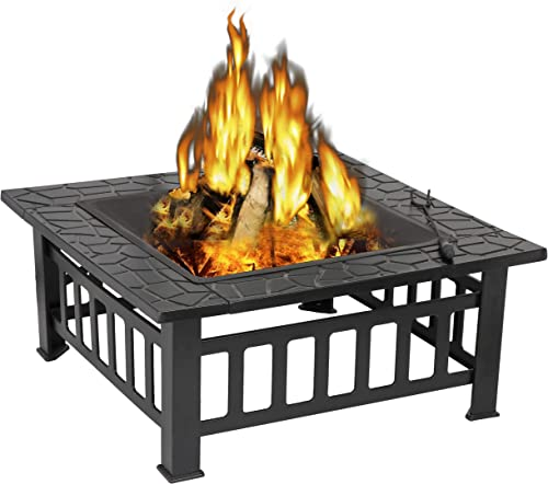 ZENY Outdoor 32 Metal Fire Pits BBQ Square Table Backyard Patio Garden Stove Wood Burning Fireplace with Spark Screen Cover,Poker,Cover,Grill