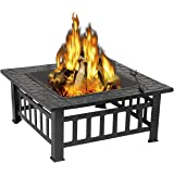 ZENY 32'' Outdoor Fire Pits BBQ Square Firepit Table Backyard Patio Garden Fire Bowl Stove Wood Burning Firepit Fireplace wit