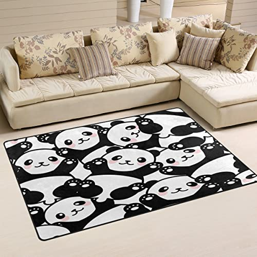 WOZO Cute Panda Animal Area Rug Rugs Non-Slip Floor Mat Doormats Living Dining Room Bedroom Dorm 60 x 39 inches inches Home Decor
