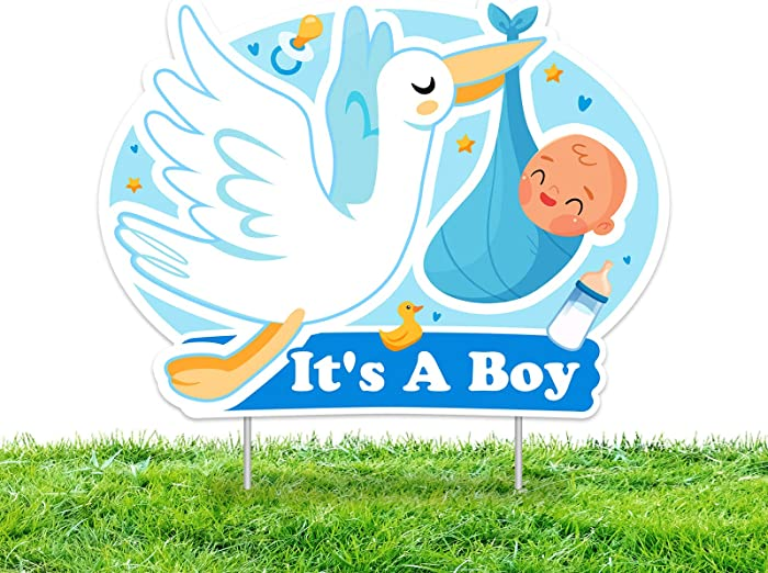 IT'S A BOY Blue Yard Signs with Stakes –Boy Special Delivery - It's A Boy Stork Baby Shower Yard Sign Lawn Decorations - Party Yardy Sign-Welcome Home Baby Lawn Sign- Gender Reveal Baby Shower