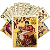 Postcard Set 24pcs Sweing Machine Vintage Adverts Posters and Cooking Book