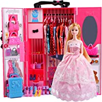 UCanaan Doll Closet Wardrobe Set for Doll Clothes (Also Suitable for 11.5 Inch Barbie Dolls), 44 Pcs Doll Accessories…