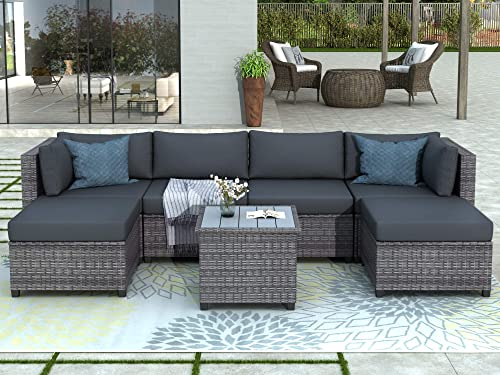 Merax 7 Pieces Patio Furniture Sets Outdoor Sectional Sofa All Weather PE Rattan Patio Conversation Set Wicker Couch