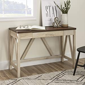 WE Furniture Rustic Farmhouse Wood Computer Writing Desk Office, 46 Inch, White, Brown