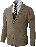 H2H Mens Slim Fit Soft Shawl Collar Cardigan Sweater with Ribbing Edge