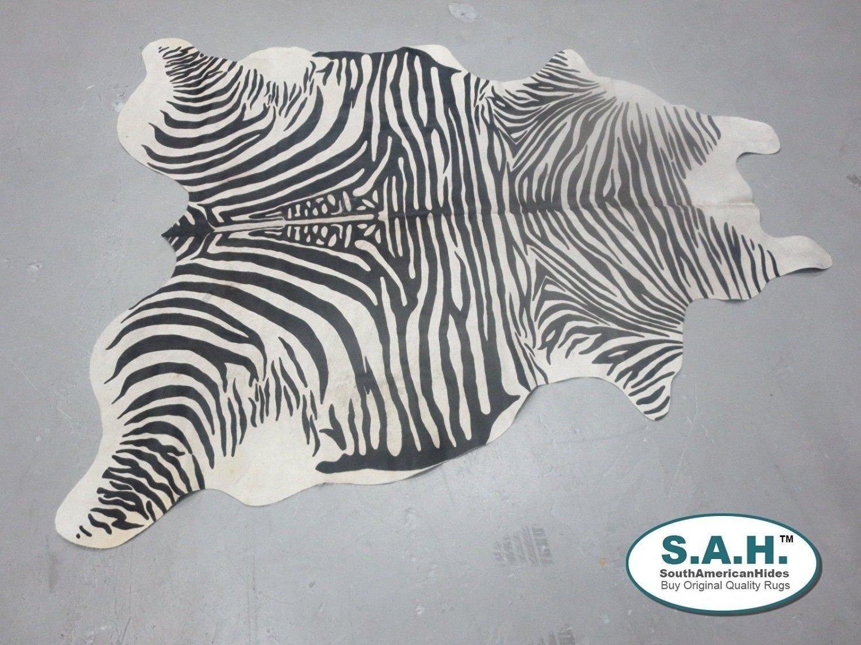 Hilason Stencil Zebra Print Hair-On Leather Pure Brazillian Cowhide Skin Rug
