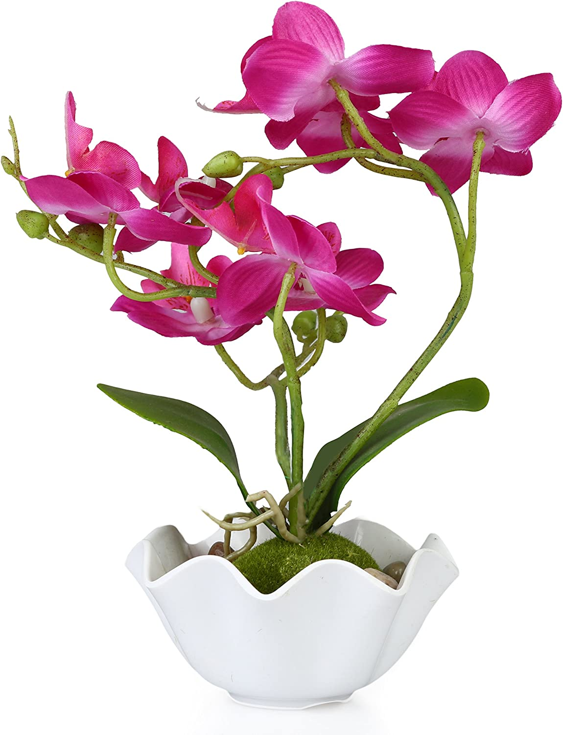 MyGift Decorative Artificial Silk Phalaenopsis Orchid Flower with White Vase, Purple