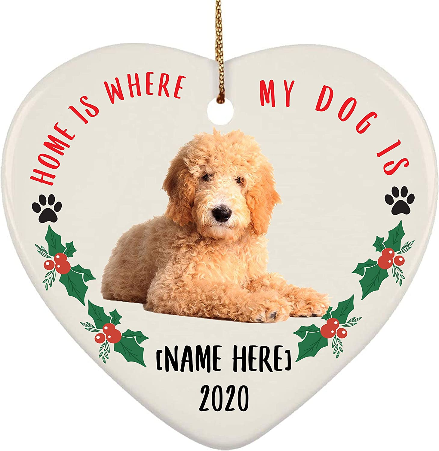 Lovesout Personalized Name Goldendoodle Golden Home is Where My Dog is Christmas Heart Ornament