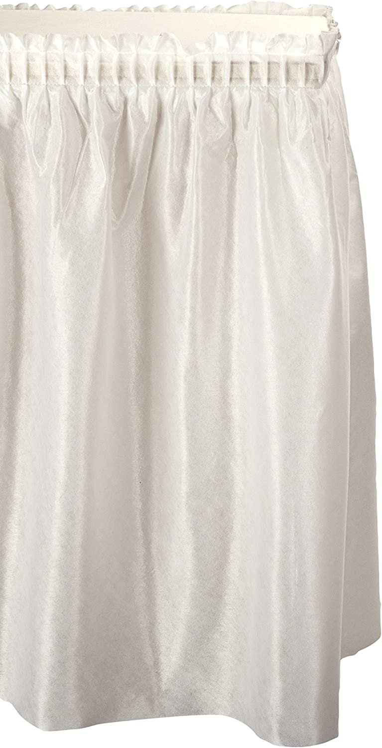 """Tablemate TBLLS2914WH Disposable Linen-Like Table Skirt, Self-Adhesive, 29"""" x 14', White"""