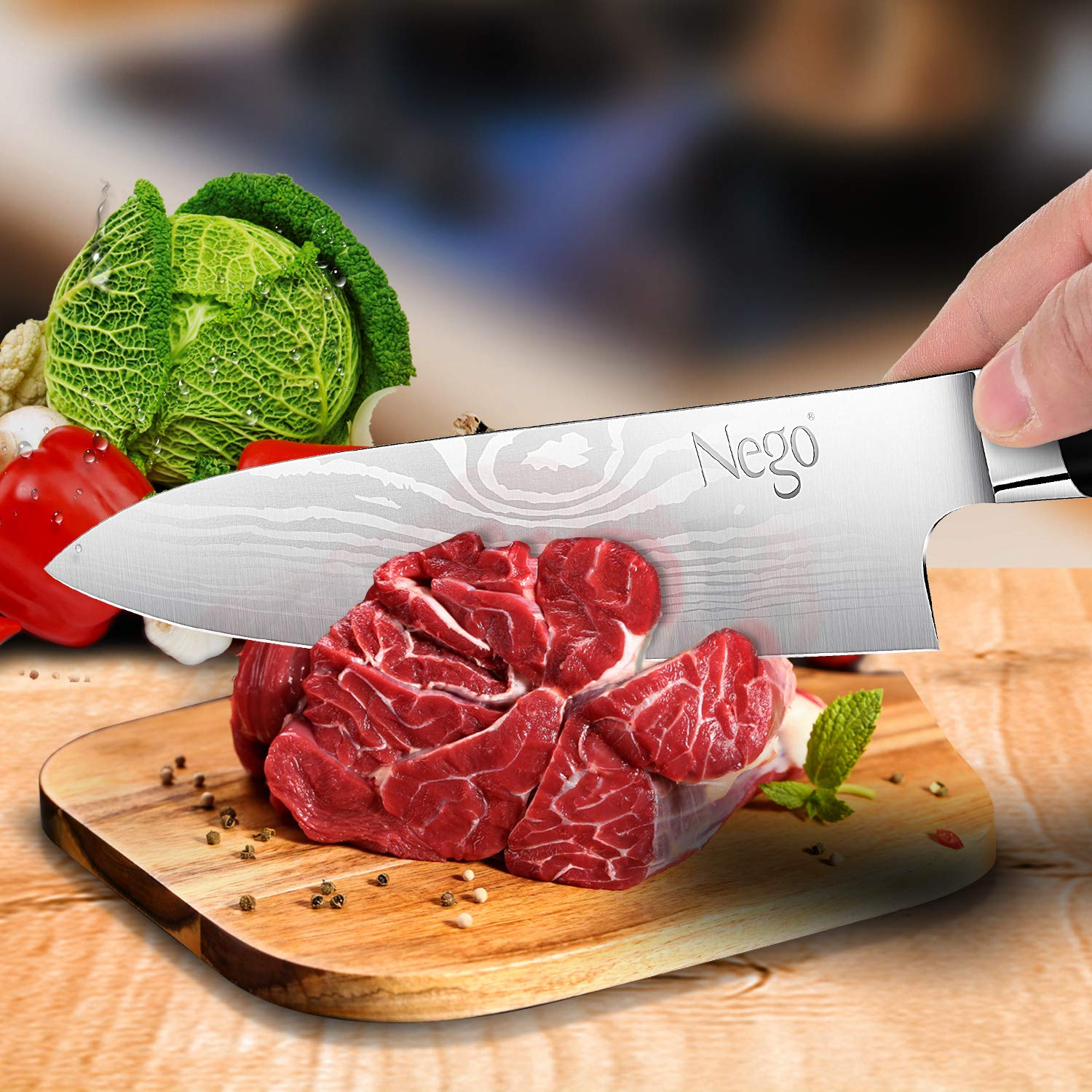 Chef Knife - Pro Chef knives 8 inch Cooking knife, German High Carbon Stainless Steel Razor Sharp Blade Stain Resistant, Best Choice for Restaurant and Home Kitchen by Nego (Image #5)