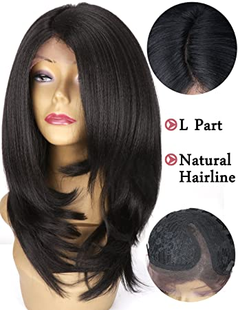Medium Shoulder Length Synthetic Lace Front Wigs Layered Italian Yaki Straight Bob Cut Wig Heat Resistant