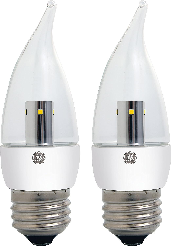 GE Lighting 23004 LED 3.5-Watt (25-watt replacement) 170-Lumen Bent Tip Light Bulb with Medium Base, Clear Soft White, 2-Pack