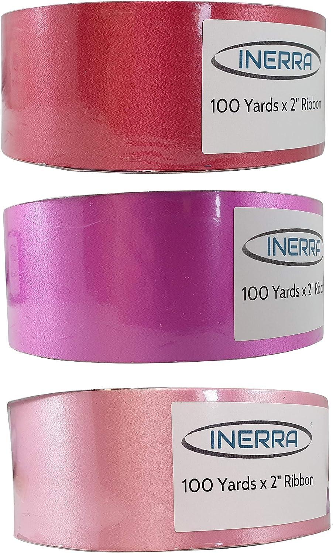 3 rollos de 100 yardas INERRA Ribbon Multipack rojo, cereza y rosa beb/é