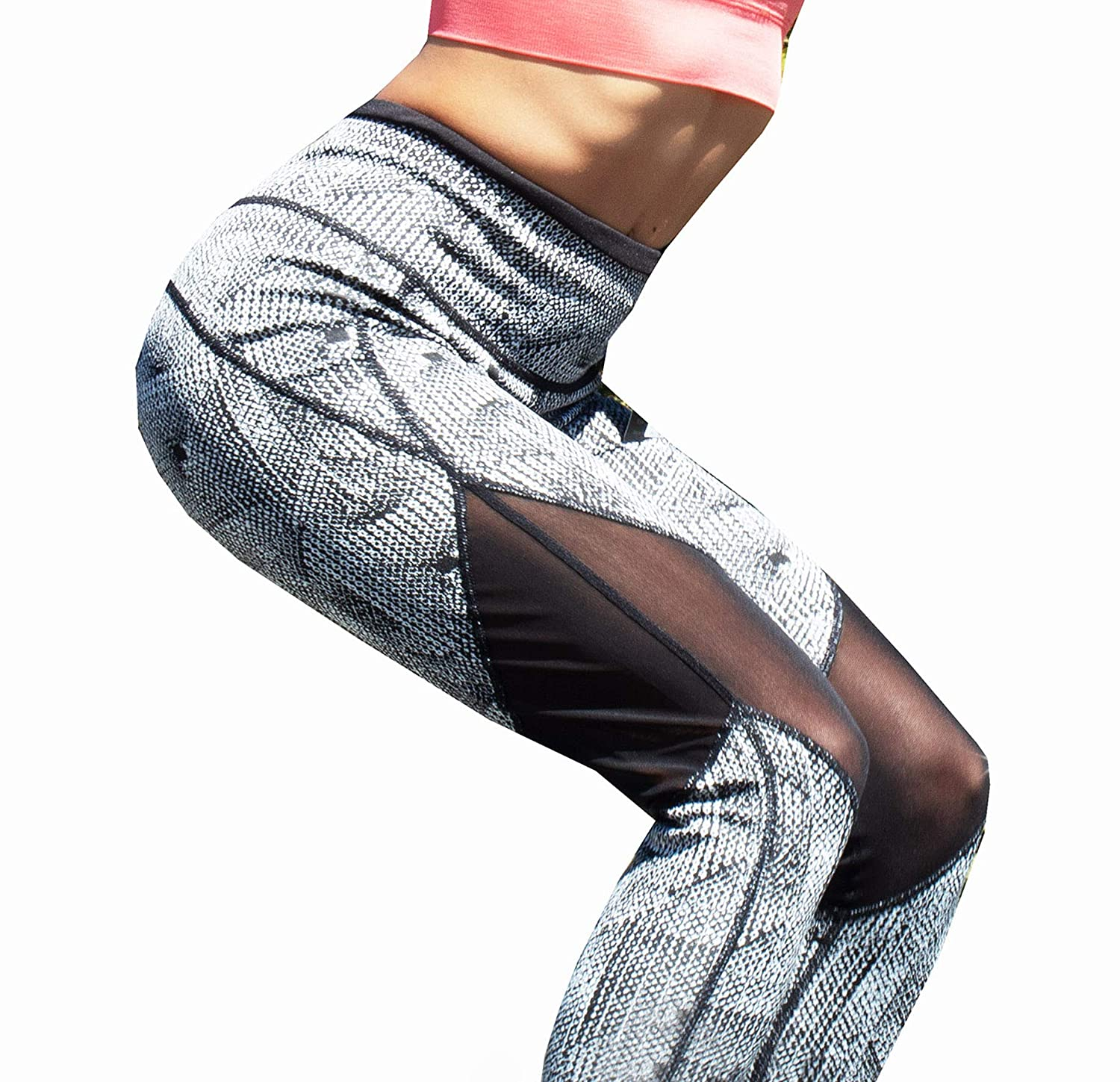 bbd2500d30 Amazon.com: Runner Island Womens White & Black Digital Patterned Workout  Leggings High Waist Compression Mesh for Running: Clothing