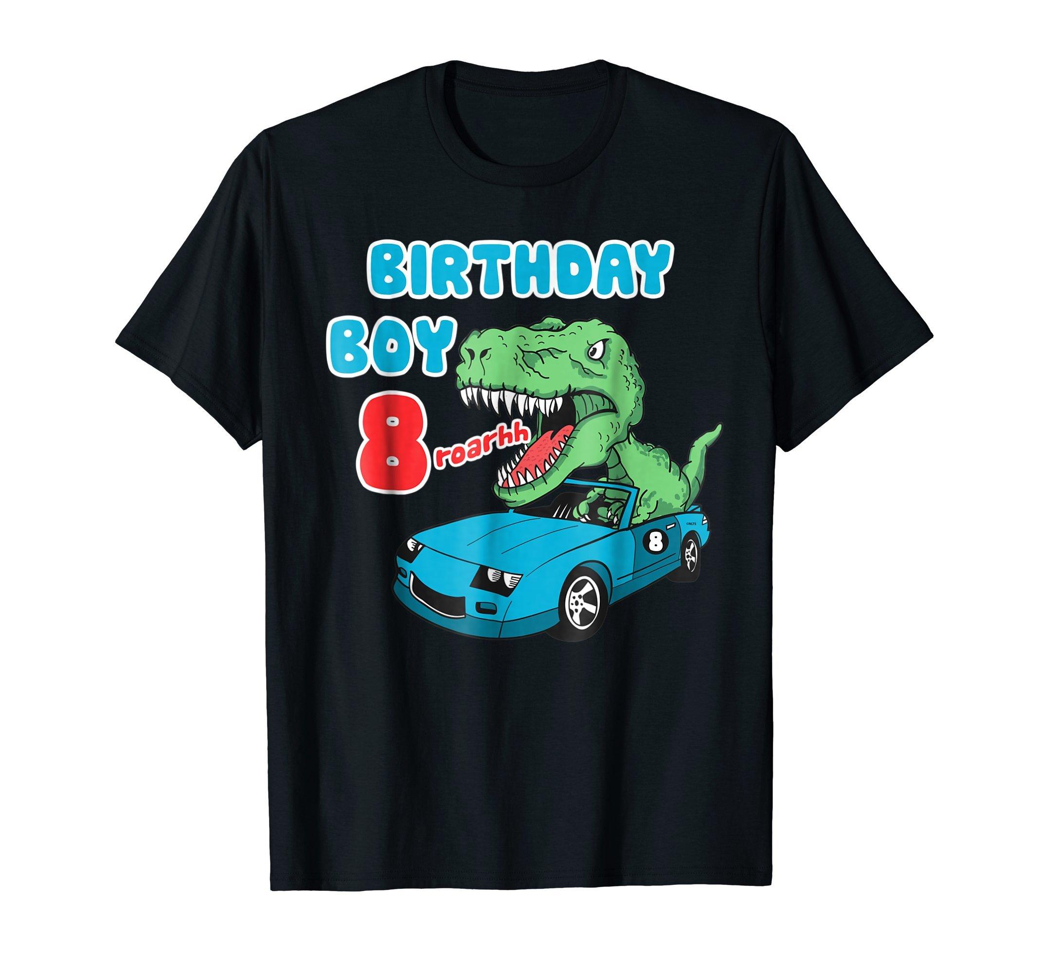 Dinosaur-Racer-Birthday-Boy-8th-Birthday-Fun-Humor-T-Shirt-T