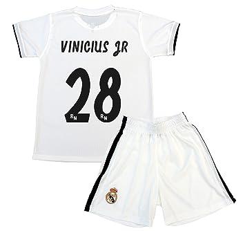 f52c718df Real Madrid Conjunto Camiseta y Pantalón Primera Equipación Infantil  Vinicius JR Producto Oficial Licenciado Temporada 2018-2019  Amazon.es   Deportes y aire ...