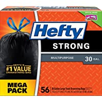 Hefty Strong Large Trash Bags (Multipurpose, Unscented, Drawstring, 30 Gallon, 56 Count) - Packaging May Vary