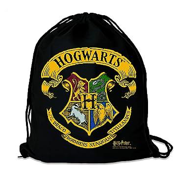 LOGOSHIRT - Harry Potter - Hogwarts - Logo - Mochila Saco - Bolsa - Negro - Diseño Original con Licencia: Amazon.es: Equipaje