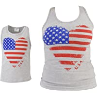 Unique Baby Girls Mommy & Me Mother's Day Patriotic Heart Tank Tops