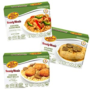 Kosher Mre Meat Meals Ready to Eat, Variety of Chicken Meat Balls, Stuffed Chicken Breast, Chicken Chow Mein (3 Pack Bundle) - Prepared Entree Fully Cooked, Shelf Stable Microwave Dinner