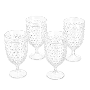 AmazonBasics Tritan Hobnail Texture Footed Iced Tea Glasses - 17-Ounce, Set of 4