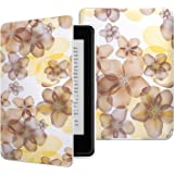 MoKo Case for Kindle Paperwhite, Premium Thinnest and Lightest PU Leather Cover with Auto Wake / Sleep for Amazon All-New Kindle Paperwhite (Fits 2012, 2013, 2015 and 2016 Versions), Floral YELLOW