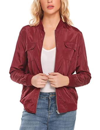 b110c9a93 Meaneor Womens Casual O-Neck Long Sleeve Lightweight Bomber Jacket