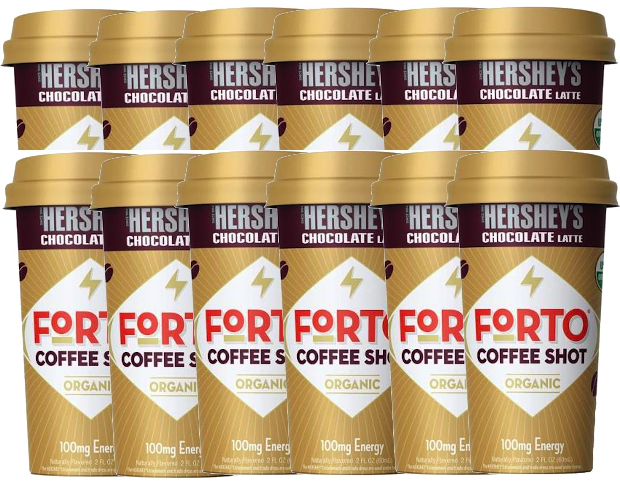 NEW Forto Coffee Shots Organic Hershey's Chocolate Latte,/Vanilla Latte 100mg Energy (Hershey's, 12)