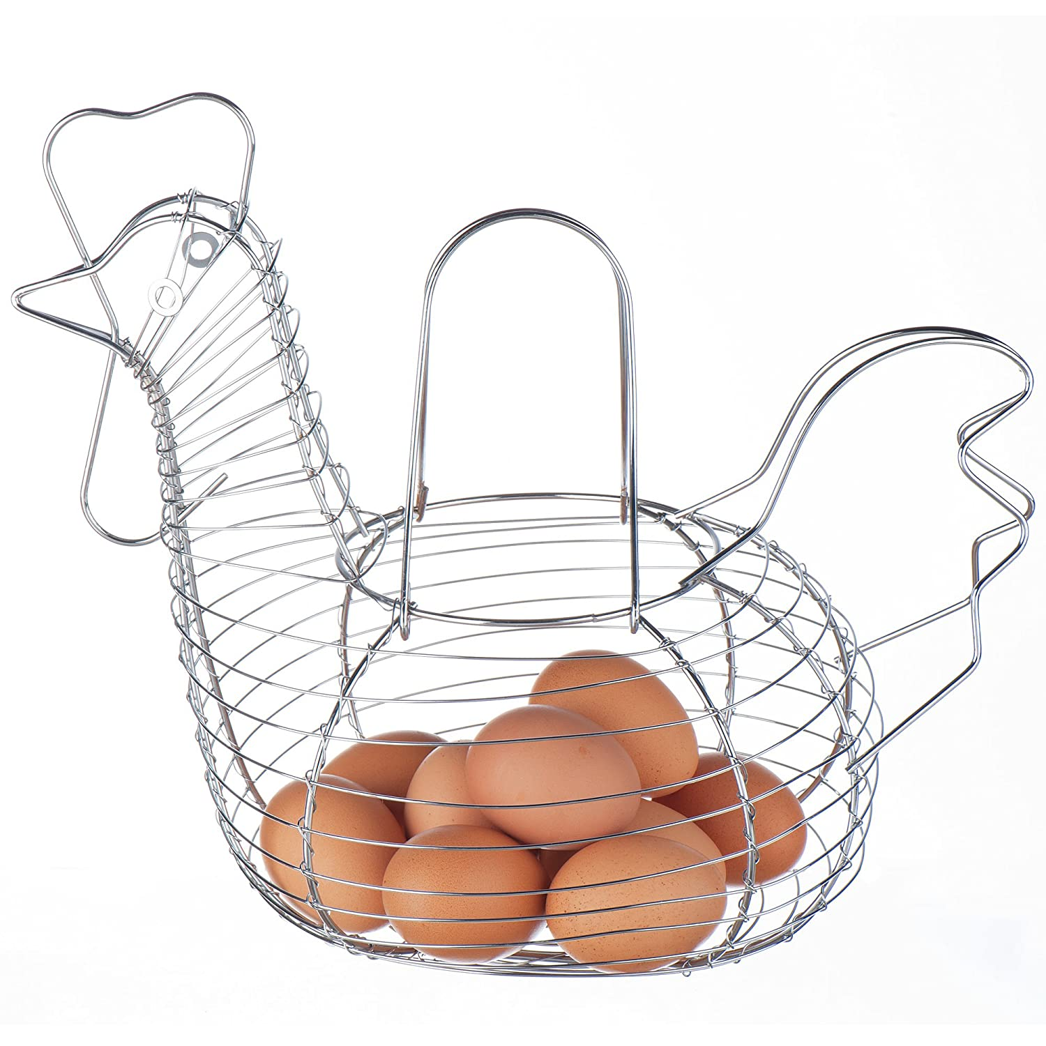 VonShef – Chicken / Hen Wire Egg Basket Holder Storage Display - Chrome Plated – Large (34 x 27cm)
