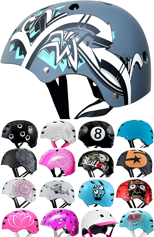 SC Skateboard /& BMX Bike Helmet for Kids /& Adults 20 Designs Size: S Graffiti Gray